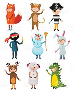 Kids different costumes isolated vector illustration royalty-free stock vector art