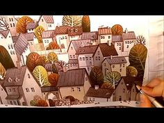 """Watercolor Illustration """"village"""" collaboration with pearfleur Painting by Iraville - YouTube"""