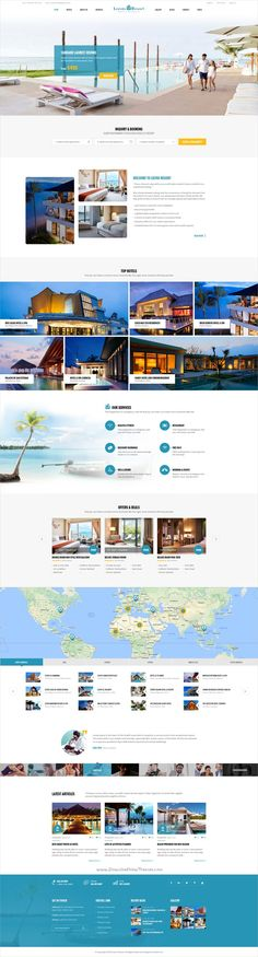 Leevio is a wonderful premium #Photoshop template for #webdesign stunning resort, #hotel and travel agencies websites with 5 homepage layouts and 46 organized PSD pages download now➩ https://themeforest.net/item/leevio-resort-hotel-travel-psd-template/19276915?ref=Datasata