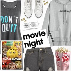 Bring the Popcorn: Movie Night by pokadoll on Polyvore featuring polyvore, mode, style, Converse, fashion, clothing, movieNight, polyvoreeditorial and polyvoreset