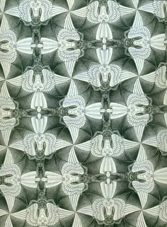 Angels and Devils, study of regular division of the plane by MC Escher, 1941