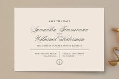 """""""Notable"""" - Classical, Elegant Save The Date Cards in Mint by Olivia Raufman."""