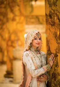 Pakistani Bride - I am in love with this bridal outfit and make up look, not to mention the way the photographer took this picture. Bridal Hijab, Hijab Wedding Dresses, Hijab Bride, Pakistani Bridal Wear, Bridal Outfits, Wedding Attire, Bridal Dresses, Hijabi Wedding, Wedding Bride