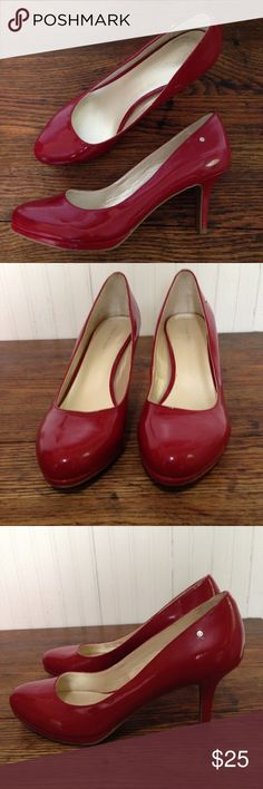 "Etienne Aigner red heels size 10 Etienne Aigner red heels size 10, shiny, 3.5"" heels, great condition Etienne Aigner Shoes Heels"