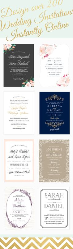 Over 200 wedding invitations that can be match your wedding color for free!  See instant previews of your invite with your text, colors, and photos.