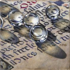 ON A ROLL oil still life painting, painting by artist Barbara Fox