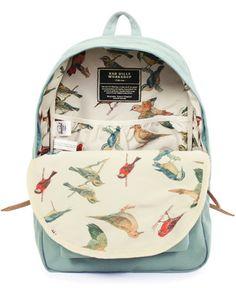 I like the bird interior! Good road trip bag - Herschel Supply backpack