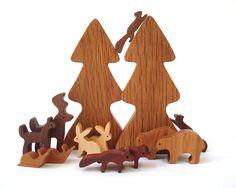 14 Piece Wooden Woodland Play Set Waldorf  Miniature Forest Animals Hand Cut Scroll Saw