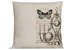 One Kings Lane - The French Connection - Blue Moth Linen Pillow
