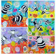 Elementary Art Rooms, Art Lessons Elementary, Kindergarten Art, Preschool Art, Spring Art Projects, 6th Grade Art, Ecole Art, Insect Art, Art Classroom