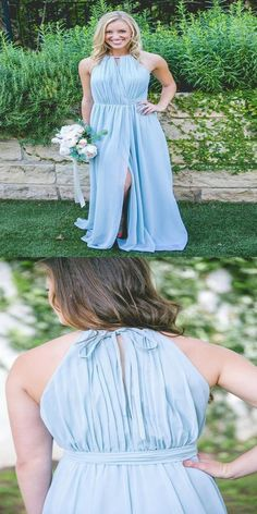 da3039213a572 Simple Floor-Length Halter Blue Chiffon Sleeveless Bridesmaid Dresses,Affordable  Bridesmaid Dresses Online,VPWG163. Pale ...
