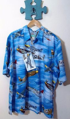 $175.00 Rare Vtg Reyn Spooner XXL Hawaiian Shirt WWII P-51 Plane Graphic NWT #ReynSpooner #Hawaiian #mensshirt #menswear #mensfashion #veterans #wwii  #p51
