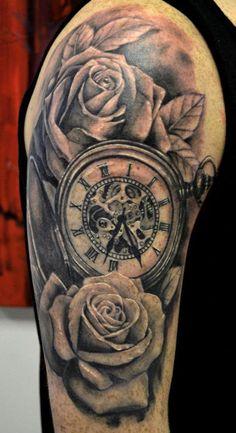 Roses And Clock Tattoos On Half Sleeve photo - 4