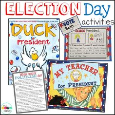 Duck for President and My Teacher for President read-aloud and activities that meet core standards. Perfect for Election Day!