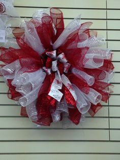Red and White Mesh Wreath
