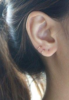 Tiny Rose Gold Hoop Earrings Cartilage 8mm - Sterling Silver #Earrings #Women'sEarrings #GoldJewelleryShoot