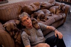 William Wegman with Bobbin, Flo, Penny, and Candy, photo by Stephanie Sinclair