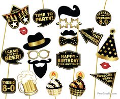 Birthday Photo Booth Props DIY / Twenty First Birthday Party Photobooth Props / Colorful Black Thirty Birthday, 60th Birthday Party, Birthday Party Decorations, Fortieth Birthday, Diy Photo Booth Props, Photobooth Props Printable, Birthday Photo Booths, First Birthdays, Colorful