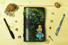 Alice in Wonderland Hand Painted by Artist Midori Leather Cover for Standard Size Midori Travelers Notebook Fauxdori Planner Hand Stitched
