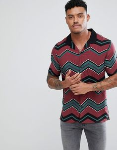 b93e3a0ffe6 ASOS Oversized Chevron Stripe Shirt With Revere Collar - Red