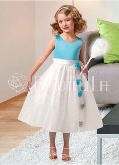 Blue Satin Scoop Sash Flower Girl Dress