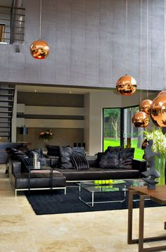 Architecture, Charming Luxury Modern Villa In South Africa By Nico Van Der Meulen Featuring Interior Design In Living Room With Sectional Sofa, Marble Floor: Astonishing Contemporary Home Design with Modern Interior Design