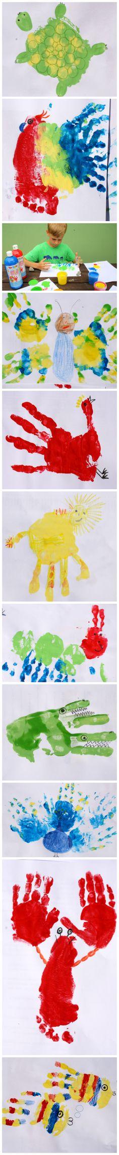 Deset zvířat prstovými barvami. Malování prstovými barvami. Otisk rukou a nohou. Malování s dětmi, malování s nejmenšími, aktivity s dětmi.
