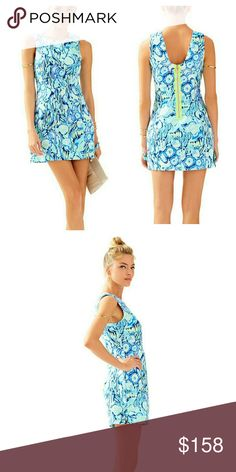 NWT, Lilly Pulitzer Mila Shift Dress (Sunset Swim) The Lilly Pulitzer Mila Shift Dress in Indigo Sunset Swimis a gorgeous way to welcome the sun. This short printed dress is perfect for a daytime party or a wedding. A dress like this is slimming and elongating - who doesn't love that? Details: Shift Dress With A Scoop Back, Grosgrain Detail Around Center Back Zipper, Hem Bows And Side Slits. Vintage Dobby - Printed 100% Cotton). Machine Wash Cold. Separately. Delicate Cycle. BNWTA! Never…