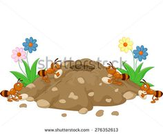 Anthill in the forest land - stock vector