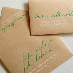 love green ink on kraft paper envelopes - holiday post