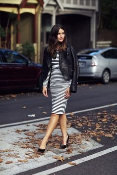 Stripes #dress black leather jacket