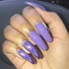Unicorn nail design can provide you an extremely stylish set of nails. The nails are short with unique colors on each and every nail leading to a rainbow effect. Unicorn Nails Designs, Purple Nail Designs, Long Nail Designs, Acrylic Nail Designs, Nail Art Designs, Holographic Nails Acrylic, Purple Acrylic Nails, Purple Nails, Purple Art
