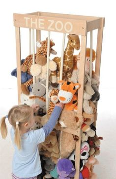 Put all the (toy) animals in The Zoo -> Since I can't get it outside NZ, I'll have to try to make this... Wood frame, bungee cords inside a covering for bars.
