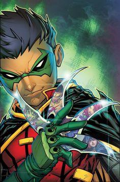 Teen Titans, volumes 'Damien Knows Best'. As a part of DC Universe Rebirth, son of Batman Damian Wayne joins the Teen Titans. Dc Rebirth, Titans Rebirth, Dc Universe Rebirth, Damian Wayne, Teen Titans, Arte Dc Comics, Beast Boy, Nightwing, Comics Illustration