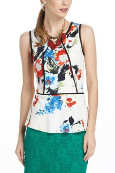 Bloomfall Peplum Tank - Anthropologie.com. basic top dressed up with contrast seams and vibrant print.