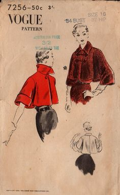 Vogue 7256 Womens Swing Jacket 50s Vintage Sewing Pattern Size 16 Bust 34 inches
