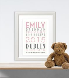 Personalised gifts ireland baby gifts engagement gifts babys print personalised frame google search negle Image collections