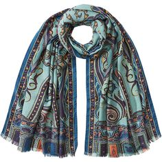 Etro Silk-Cashmere Printed Scarf (21.955 RUB) ❤ liked on Polyvore featuring accessories, scarves, multicolored, boho scarves, etro, pure silk scarves, silk shawl and cashmere scarves