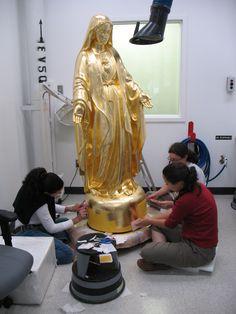Rédorure d'une Vierge de Louis Jobin, Centre de conservation du Québec DORADO  AL MIXTION  CON ORO TRANSFER