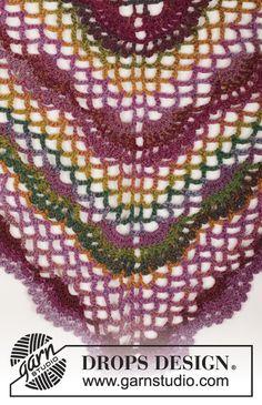 """Summer Fling - DROPS Gehaakte sjaal met fans en bogen patroon keten steek in """"Delight"""". - Gratis patroon bij DROPS Design"""