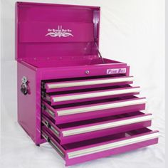 Pink TOOL BOX From The Pink Superstore - Its a tool box but also works great as a small dresser, organizer and much more! The Original Pink Box, Pink Tool Box Pink Tool Box, Rangement Makeup, Small Dresser, Make Up Storage, 5 Drawer Chest, Everything Pink, Getting Organized, My Favorite Color, Pretty In Pink