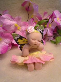 Baby Fairy Miniature Fairy, Clay Fairy, Sleeping Fairy, Fairy Art,Fairy Art, Tiny Fairy, Fairies, Fairy Doll, Fairy Sculpture, Pixie by RosiesFairiesCrafts on Etsy https://www.etsy.com/listing/529307263/baby-fairy-miniature-fairy-clay-fairy