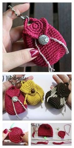 Crochet Amigurumi Keychain Free Crochet Pattern - The Mini Backpack Keychain Free Crochet Pattern is very easy to make. It is fashionable and practical. Make one today with the free step by step video. Crochet Shell Stitch, Crochet Motifs, Crochet Stitches, Sewing Stitches, Doilies Crochet, Crochet Squares, Crochet Handbags, Crochet Purses, Crochet Bags