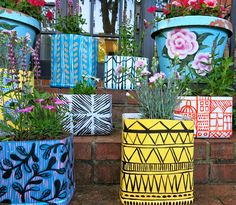 planters made from cat litter containers