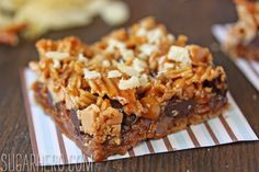 Dude Food Magic Bars | SugarHero.com (pretzel, bacon, potato chips, chocolate chips, caramel sauce)