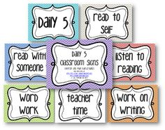 Daily 5 - Read With Someone, Read to Self, Listen to Reading, Word Work, Teacher Time, Work on Writing
