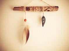 Unique Home Decor - Tribal Sun - Woodburning Decorated Driftwood Mobile with Wooden Amulet and Natural Wild Duck Feathers - Decoration