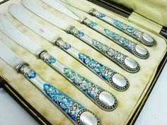 Silver Enamel Afternoon Tea Knives Sterling by DartSilverLtd