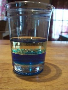 wate density experiment, looks like waves- just water, food coloring, and oil -preschool science ideas #Christmas #thanksgiving #Holiday #quote