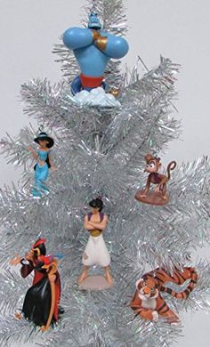Disney ALADDIN 6 Piece Christmas Ornament Set Featuring Aladdin Jasmine Genie Abu Rajah and Jafar with Iago Ornaments Average 2 to 4 Tall *** Be sure to check out this awesome product.